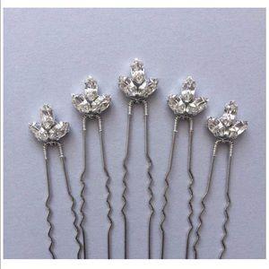 Set of five crystal silver bridal hair pins
